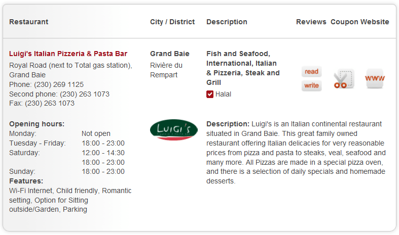 Mauritius restaurants premium listing