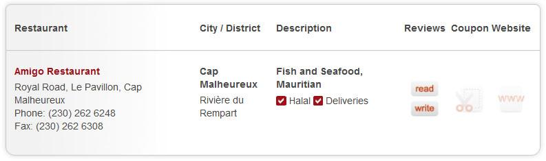 Mauritius restaurants free listing