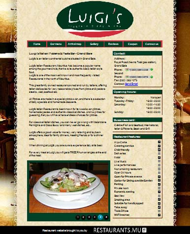 Mauritius restaurant home page