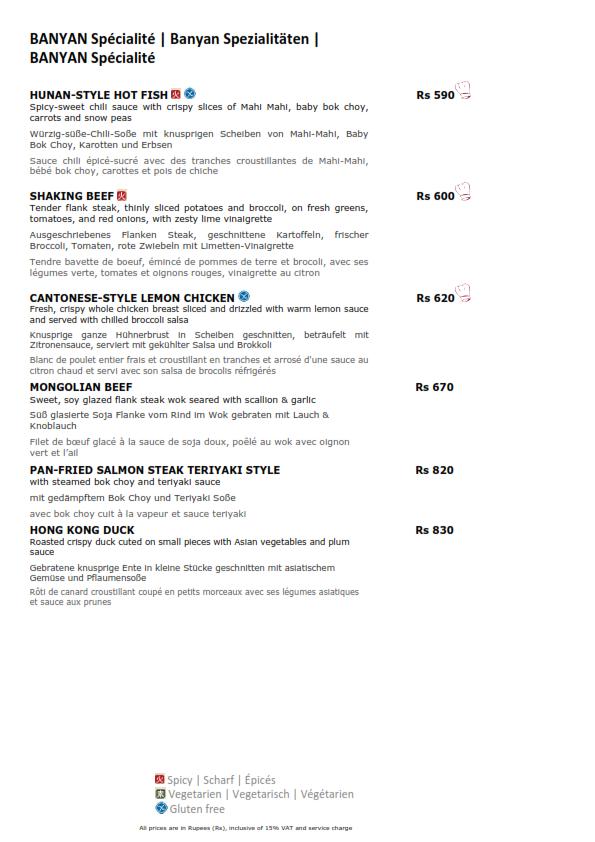 Banyan asian cafe menu