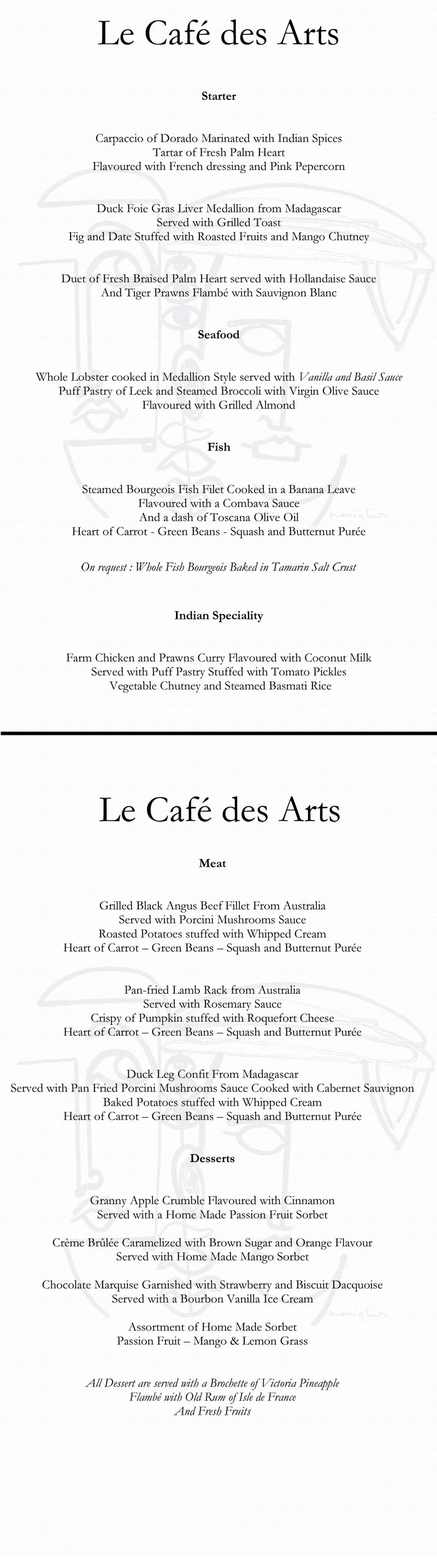 Le Cafe des Arts Restaurant Menu