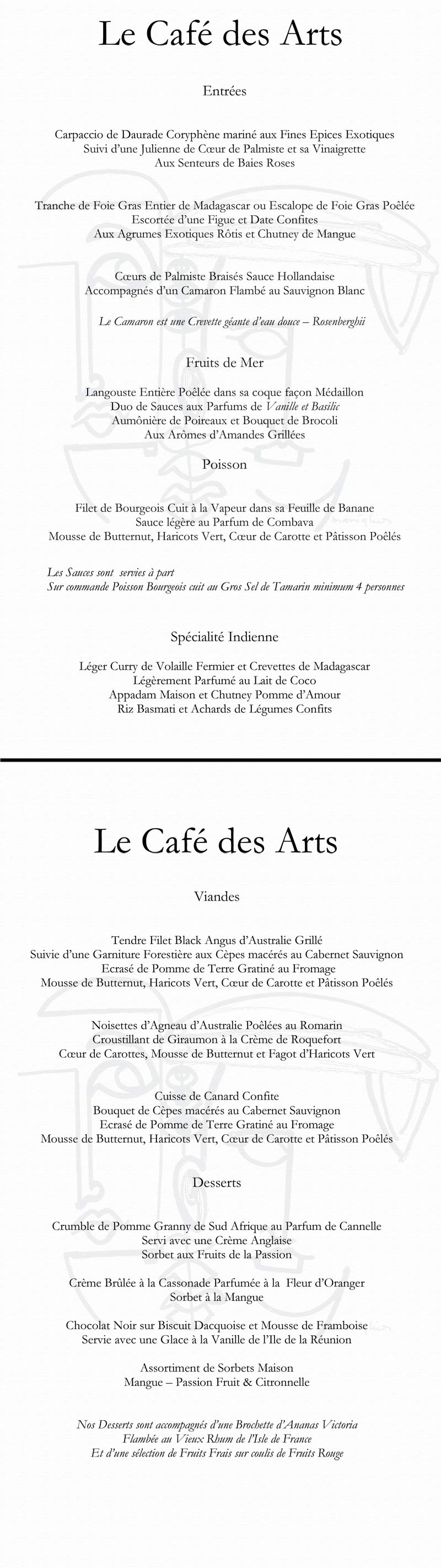 Menu Le Cafe des Arts