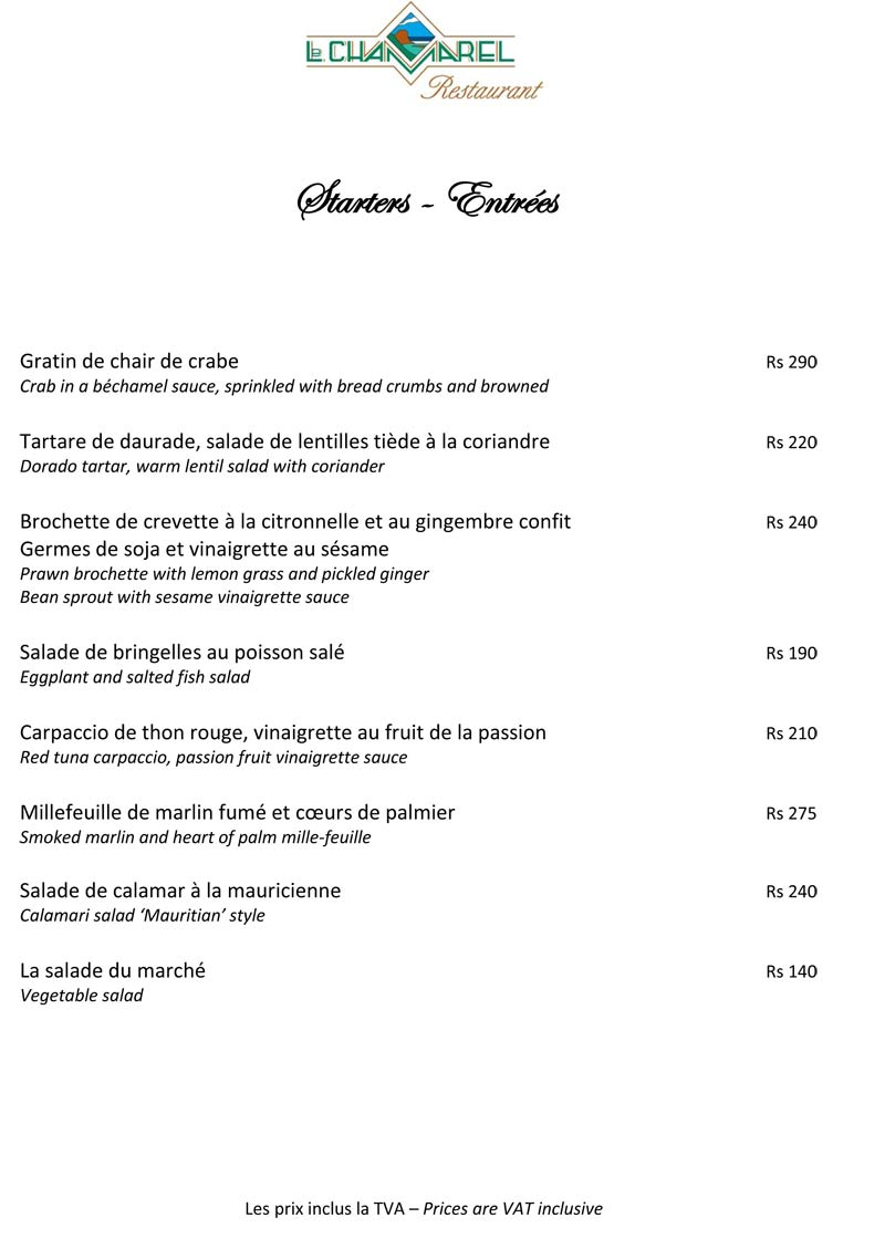 Le Chamarel Restaurant Menu
