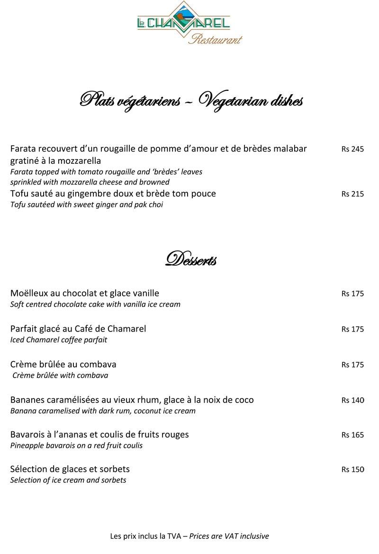 Le Chamarel Restaurant Menu -  Starter
