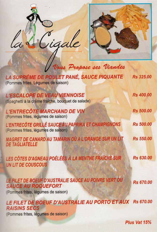 La Cigale Restaurant Menu