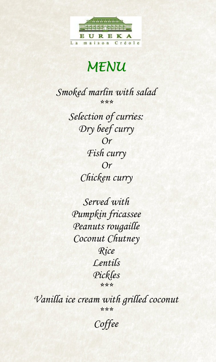 Eureka house menu