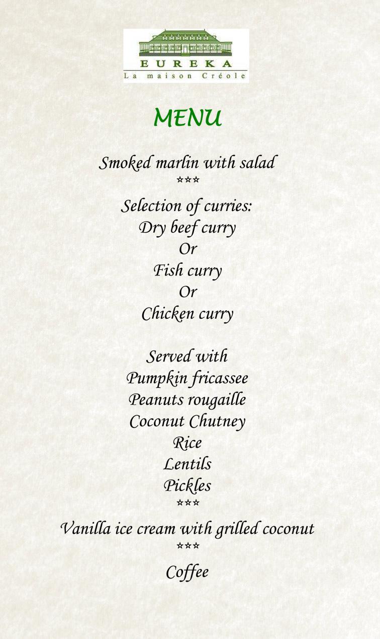 Eureka house menu