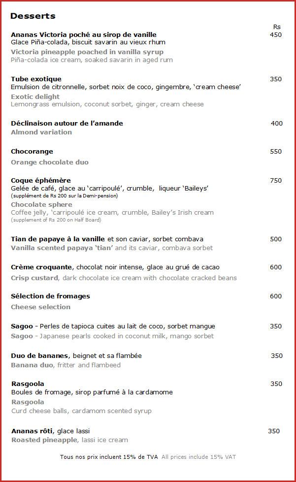Le flamboyant restaurant menu for Restaurant le jardin neufchatel menus