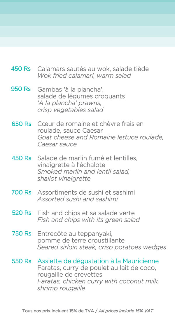 La Plage Restaurant - Day Menu