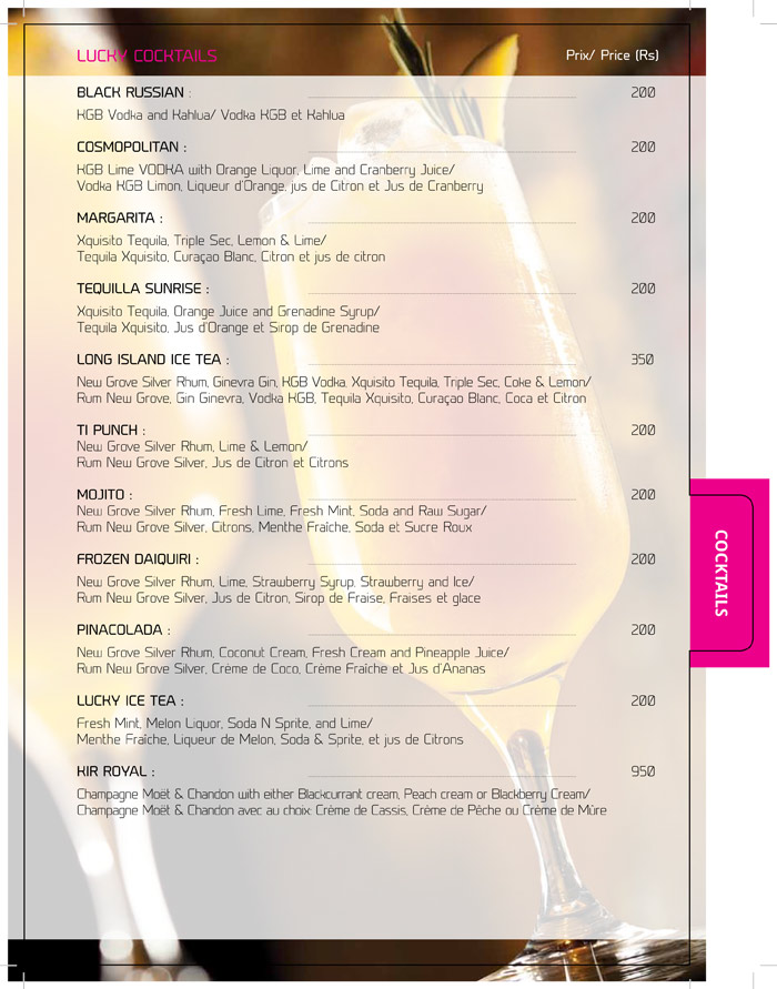 Lucky Strike Menu