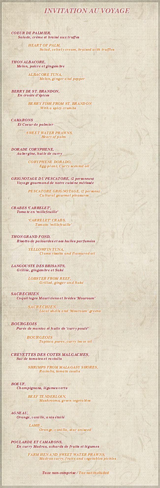 Le pescatore restaurant menu for Restaurant le jardin neufchatel menus