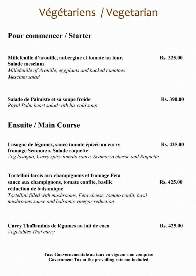 La table du ch teau menu for Table 9 menu