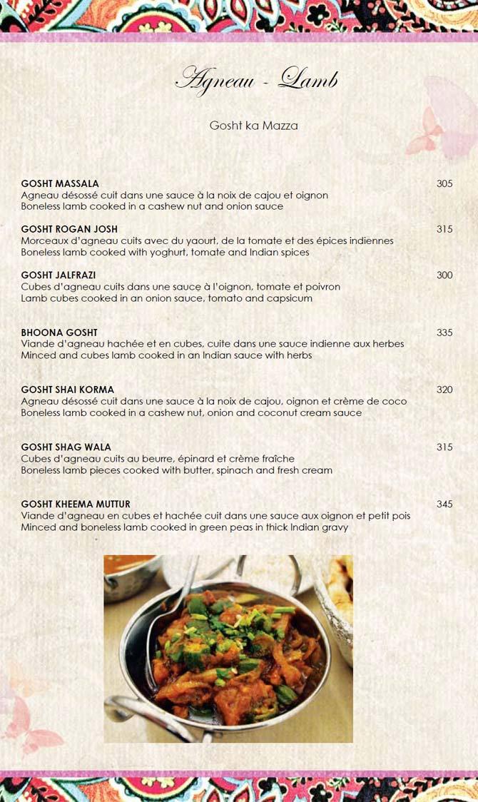 Le Tandoor Restaurant Menu