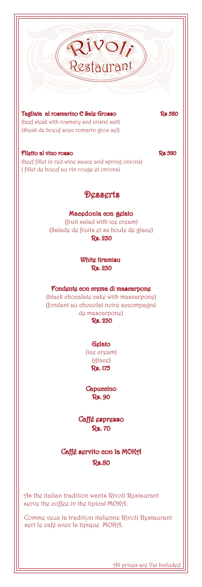 Rivoli Restaurant Menu