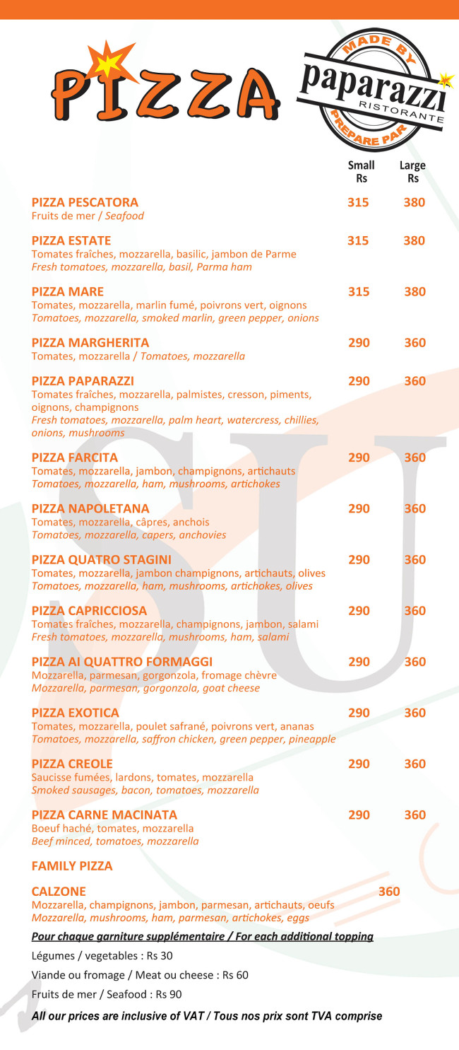 Sunset Cafe Grand Baie Menu