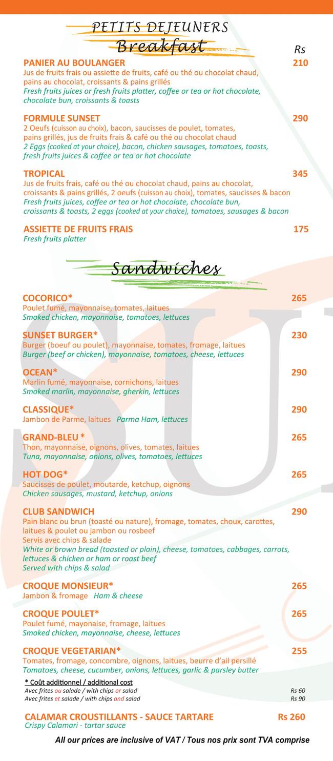 Sunset Cafe Grand Baie Menu