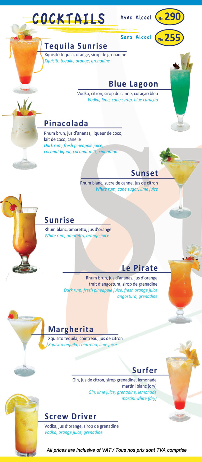 Sunset Cafe Port-Louis Caudan Waterfront Menu