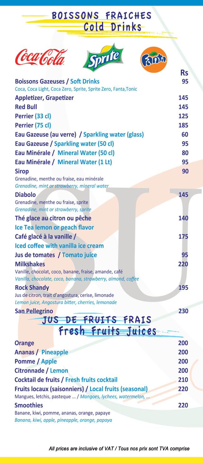 Sunset Cafe Port-Louis Caudan Waterfront Menu
